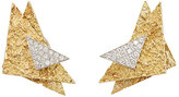 Mahnaz Collection Vintage Women's White-Diamond-Embellished Clip-On Earrings