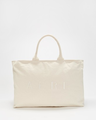 AERE - Neutrals Tote Bags - Organic Canvas Zip Tote - Size One Size at The Iconic