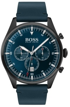 BOSS Men's Chronograph Pioneer Blue Leather Strap Watch 44mm