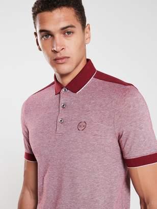 Armani Exchange Tipped Collar Panelled Polo Shirt - Burgundy