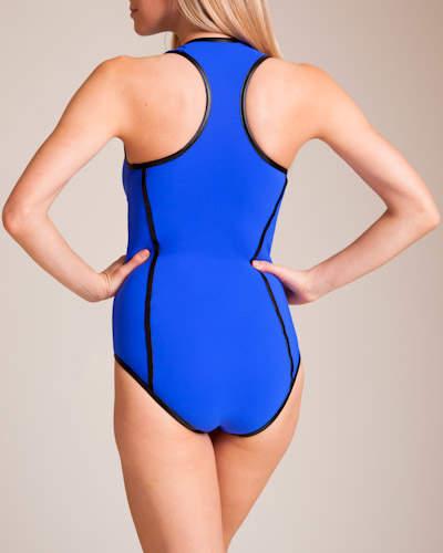 Karla Colletto Pleather U-Wire Racerback Swimsuit