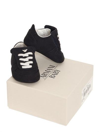 Armani Junior Suede Effect Pre-Walker Shoes