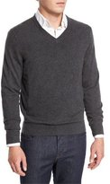 Neiman Marcus Cashmere V-Neck Sweater, Derby Gray