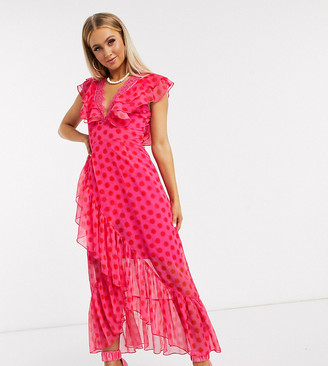 Dark Pink plunge wrap maxi dress in pink red polka dot