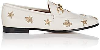 Gucci Women's Embroidered Leather Loafers - White