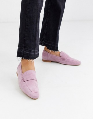 ASOS DESIGN Motion suede loafers in lilac