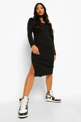 boohoo Petite Square Neck Side Split Midi Dress
