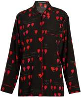 Alexander McQueen Heart-print piped-edge crepe shirt