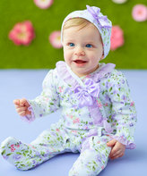 Baby Essentials Lilac Floral Footie & Beanie Set - Infant