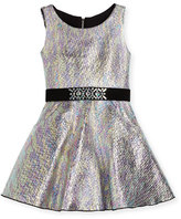 Zoe Sleeveless Metallic Fit-and-Flare Dress, Multicolor, Size 7-16