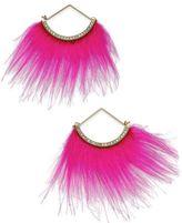 Betsey Johnson xox Trolls Faux-Fur Fan Earrings, Only at Macy's