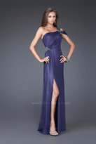 La Femme Elegant One-Shoulder Sheath Evening Dress 16260