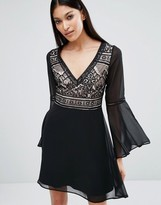 Lipsy Contrast Lace Bell Sleeve Skater Dress