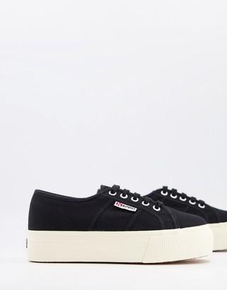 Superga 2790 acotw linea flatform lace up trainers in black