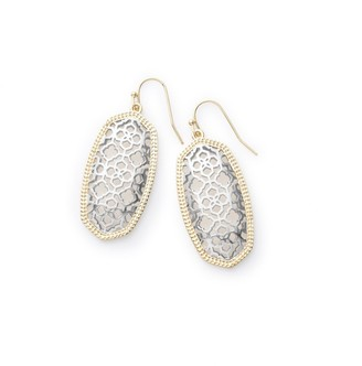 Kendra Scott Elle Drop Earrings for Women Fashion Jewelry 14k Gold-Plated Mixed Metal Filigree Gold-Plated and Rhodium-Plated