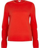 River Island Womens Red long elasticated sleeve T-shirt