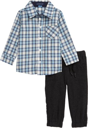 Andy & Evan Plaid Shirt & Pants Set