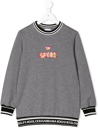 Dolce & Gabbana Sequinned Queen Patch Sweatshirt