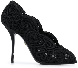 Dolce & Gabbana Embroidered Peep-Toe Pumps