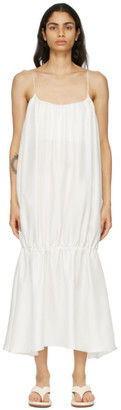 Esse Studios SSENSE Exclusive White Silk Gathered Strap Dress