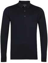 John Smedley Cotswold Merino Wool Long Sleeve Polo Shirt, Midnight