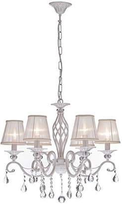 BEIGE Classic Elegant Crystal Chandelier Lamp with Chain Transparent White Fabric Shades Cream/White Metal Frame with Crystal Pendants excl. 6 Bulbs x E14 40W