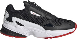adidas Black and White Synthetic Leather Falcon Zip Shoes - black | Red and White | leather | 36 2/3 - Black/Black