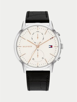 Tommy Hilfiger Dress Watch With Black Leather Strap