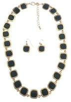 Zirconite Square Enamel and Gold Link Electroplated Earrings and Necklace Set - Black