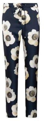 HUGO Drawstring trousers in hammered fabric with anemone print