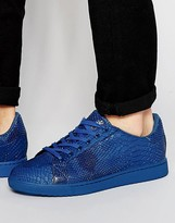 Asos Lace Up Sneakers in Blue Snakeskin Effect