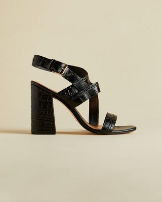 Ted Baker KASERAA Leather croc effect block heel sandals