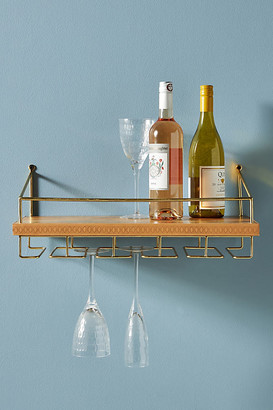 Anthropologie Shelby Leather Wine Rack By in Brown Size ALL