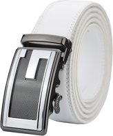 QISHI YUHUA PD Mens Casual Business Leather Belts Ratchet Belts(White10,S)