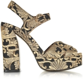 Tory Burch Loretta Black and Gold Embroidered Brocade Platform Sandals