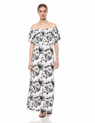 28 Palms Tropical Hawaiian Print Off Shoulder Maxi Dress Casual Blue Floral XL