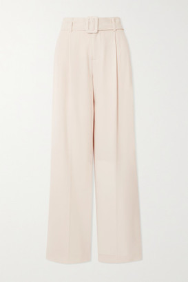 Vince Belted Crepe Wide-leg Pants - Off-white