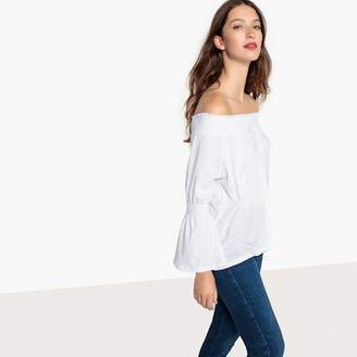 La Redoute Collections Smocked Off-The-Shoulder T-Shirt