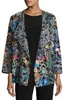 Caroline Rose Easy-Fitting Fantasia Saturday Topper Jacket, Black/Multi, Petite