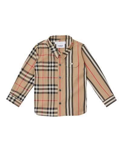 Burberry Amir Icon Stripe & Check Button-Down Shirt, Size 6M-2