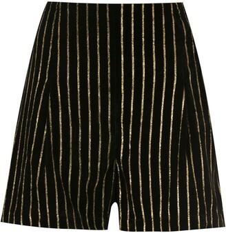 Eva Velvet Gold Striped Shorts