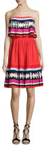 Kate Spade Geo Border Pleated Strapless Mini Dress