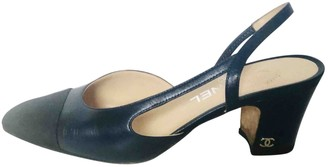 Chanel Slingback Navy Leather Heels