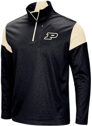 Colosseum Men's Black Purdue Boilermakers Big & Tall Luge Fleece Quarter-Zip Pullover Jacket