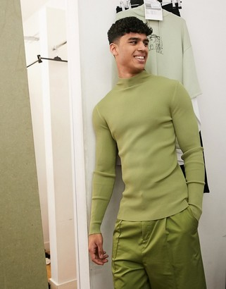 ASOS muscle fit jumper with high neck in green