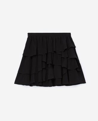 The Kooples Short flowing frilly black skirt