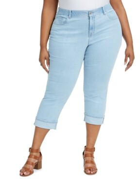 Style&Co. Style & Co Plus Size Tummy-Control Cuffed Capri Jeans, Created for Macy's