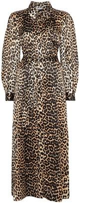 Ganni leopard print tie-waist maxi dress