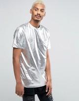 Asos Longline Metallic T-Shirt In Silver