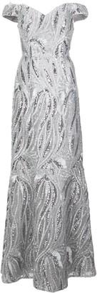 Aidan Mattox Marbled Off-Shoulder Dress